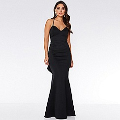 Quiz - Black strappy cross over back maxi dress