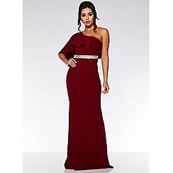 Quiz - Berry one shoulder frill maxi dress