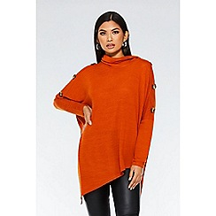 Quiz - Rust knit asymmetric cowl neck top