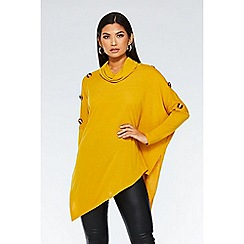 Quiz - Mustard knit asymmetric cowl neck top