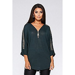 Quiz - Bottle green stud detail zip front top