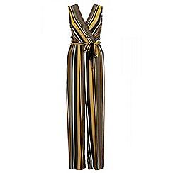 Quiz - Khaki mustard and black stripe wrap jumpsuit