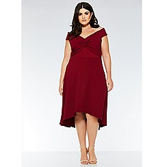 Quiz - Curve berry knot front bardot dress