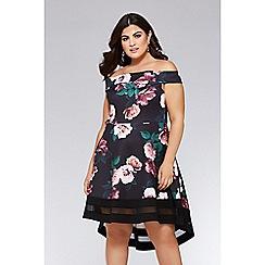 Quiz - Curve black floral bardot dip hem dress