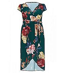Quiz - Curve bottle green floral wrap tie belt dress