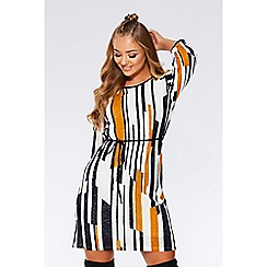 Quiz - Navy mustard and cream stripe tunic dress