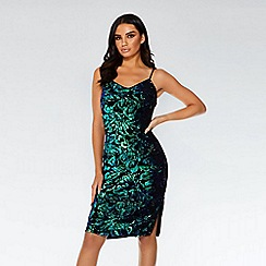 Quiz - Towie black and green sequin midi dress