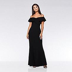 Quiz - Black wrap frill maxi dress