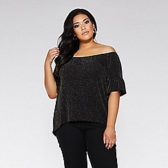 Quiz - Curve black and gold bardot frill 3/4 sleeve top