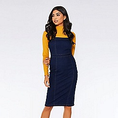 Quiz - Dark blue denim split back midi dress