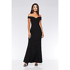Quiz - Black glitter Bardot maxi dress