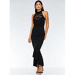 Quiz - Black sequin lace turtle neck maxi dress