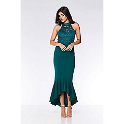 Quiz - Bottle green sequin lace turtle neck maxi dress