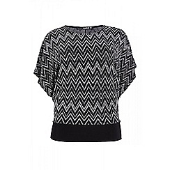 Quiz - Curve black and silver zig zag top