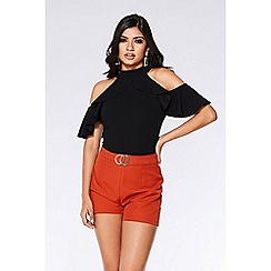 Quiz - Rust buckle detail shorts