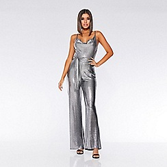 Quiz - Towie silver foil cowl neck palazzo jumpsuit