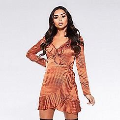 Quiz - Towie rust satin polka dot wrap long sleeves dress