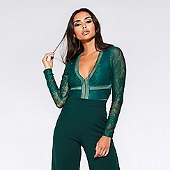 94228aba18 Quiz - Towie green lace long sleeves bodysuit