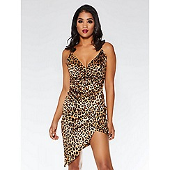 Quiz - Brown and black leopard print wrap bodycon dress