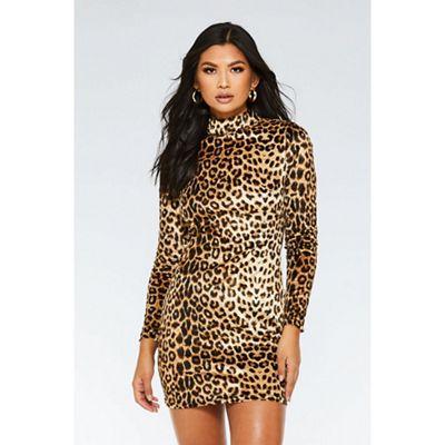 cee3ec8a3c Quiz - Brown and black velvet leopard print dress