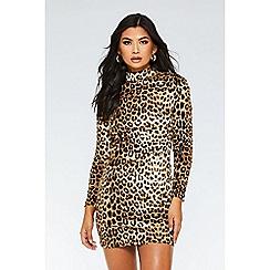 Quiz - Brown and black velvet leopard print dress
