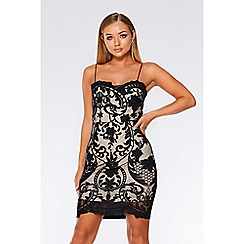Quiz - Black and stone mesh bodycon dress