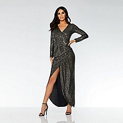 Quiz - Black and gold sequin wrap maxi dress