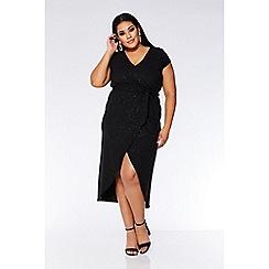 Quiz - Curve black glitter wrap dress