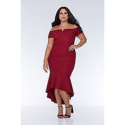 Quiz - Curve berry glitter bardot v bar dip hem dress
