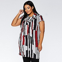 Quiz - Curve red black and grey cap sleeve tunic dress