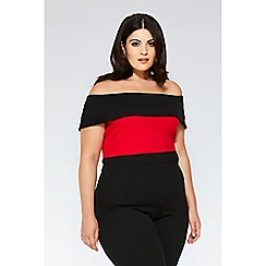 Quiz - Red and black contrast bardot jumpsuit