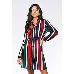Quiz - Berry and navy stripe shirt dress