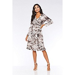 Quiz - Brown snake print long sleeve wrap dress