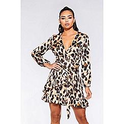 Quiz - Stone and black satin leopard print wrap dress