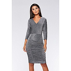 Quiz - Silver 3/4 sleeves ruched midi dress
