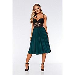 Quiz - Bottle green pleated midi skirt