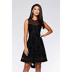 Quiz - Black glitter dip hem dress