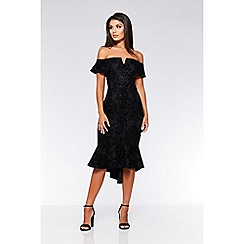 Quiz - Black glitter v bar Bardot frill hem dress