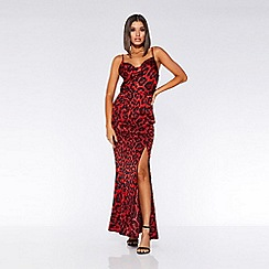 Quiz - Towie red and black leopard print cowl maxi dress