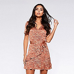 Quiz - Towie rust and stone satin leopard print wrap dress