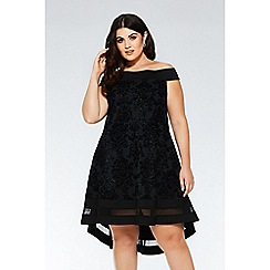 Quiz - Curve bardot glitter dip hem dress