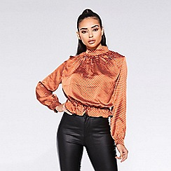 c6e30411514 Quiz - Towie rust and cream polka dot pep hem top
