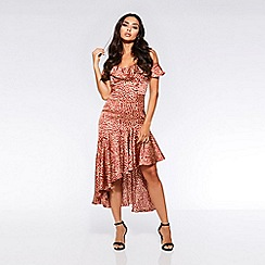 Quiz - Towie rust and stone leopard cold shoulder frill dress
