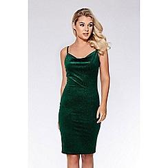 Quiz - Bottle green velvet glitter dress