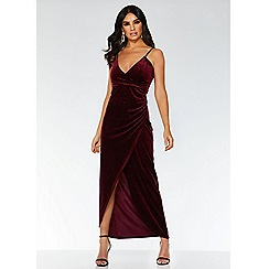 Quiz - Towie wine velvet wrap dress