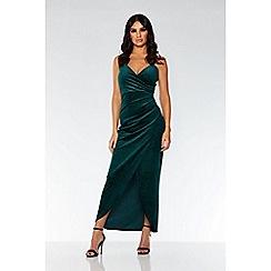 Quiz - Bottle green glitter velvet wrap dress