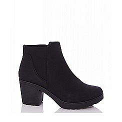 Quiz - Black chunky chelsea ankle heel boots