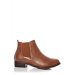 Quiz - Wide fit tan chelsea ankle boots
