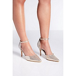 Quiz - Wide fit gold diamante court heels