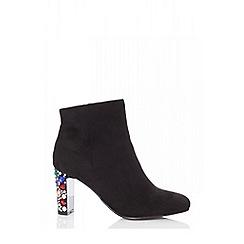 Quiz - Black faux suede jewel heel ankle boots
